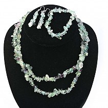 Fluorite jewelry - necklace dl. + Bracelet + earrings