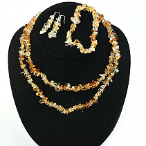 Citrine jewelry set - necklace dl. + Bracelet + earrings