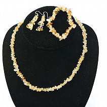 Citrine jewelry set - necklace + bracelet + earrings