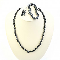 Obsidian flake jewelry - necklace + bracelet + earrings