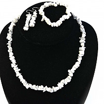 Magnesite jewelry set - necklace + bracelet + earrings