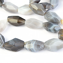 Gray agate bracelet faceted shapes
