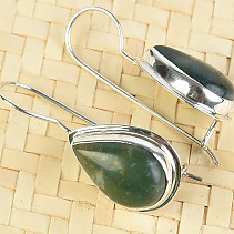 Moss agate drop earrings with bezel larger Ag