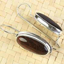 Bull's eye earrings with oval flange longer Ag