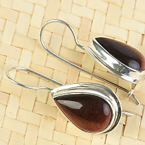 Bull's Eye drop earrings with bezel larger Ag