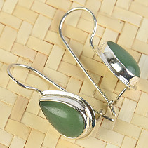 Aventurine drop earrings with bezel Ag