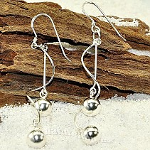 Silver earrings with beads spiral Ag 925/1000