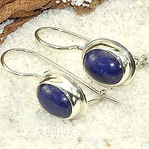 Lapis lazuli earrings ovals with trim Ag