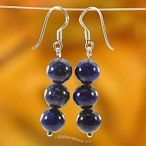 Lapis lazuli earrings beads 8 mm Ag