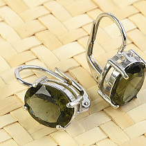 Moldavite earrings oval 8x10mm Ag 925/1000