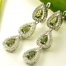 Luxury earrings with stones Ag 925/1000 drops more than one row