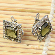 Luxury earrings with stones Ag 925/1000 square