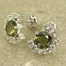 Luxury earrings with cubic zirconia stones and 7 mm Ag 925/1000