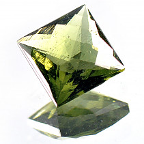 Moldavite 8 mm square cut 2.19 ct