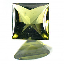 Moldavite 8 mm square cut 2,015 ct