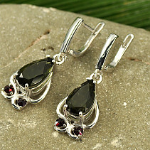 Moldavite and garnet drop earrings 8x14mm Ag Rh