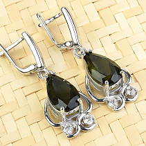 Moldavite earrings drop 8x14mm Ag Rh + zircons
