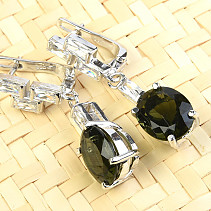 Moldavite long earrings oval 9x11mm Ag Rh zircons