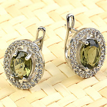 Moldavite earrings 6x8mm oval Ag Rh + zircons