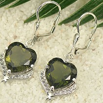 Luxury heart earrings with stones 11 mm Ag 925/1000