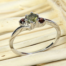 Silver ring moldavite and garnets Ag 925/1000