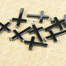 Hematite cross pendant jewelry bail 4 cm