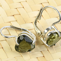 Moldavite Heart Earrings 8 mm Ag 925/1000 + Rh