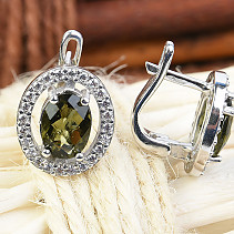 Moldavite and zircon earrings oval cut checker top Ag + Rh
