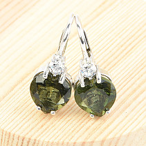 Moldavite Heart Earrings 8x86mm Ag Rh + zircons
