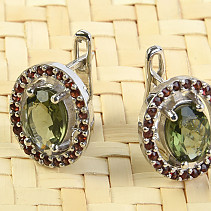Moldavite + garnet earrings oval cut 8x6mm Ag + Rh