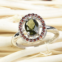 Moldavite garnets and rubber ring 8x6mm oval silver Ag 925/1000 + Rh