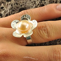 Botanic Collection: Ag silver flower ring with pearl
