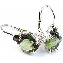 Moldavite earrings and garnet heart 8 mm silver Ag 925/1000