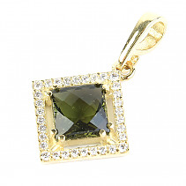 Golden moldavite pendant with zircons square cut 3.54 g (Au 585/1000)