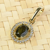 Moldavite pendant with cubic zirconia oval cut 3,54 grams gold (Au 585/1000)
