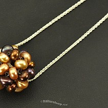 Round pearl pendant on a chain brown mix 925/1000 Ag (3.5 g)