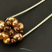Round brown pearl pendant on a chain 925/1000 Ag (3.5 g)