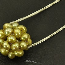 Round pendant green pearls on a chain 925/1000 Ag (3.5 g)