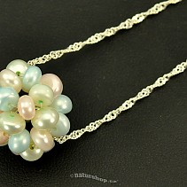 Round iridescent pearl pendant on a chain 925/1000 Ag (1.5 g)