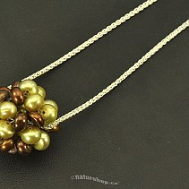 Round pendant pearls green-brown to 925/1000 chain Ag (3.5 g)
