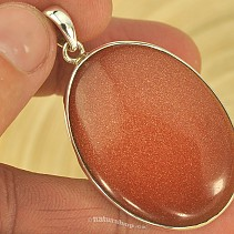 Aventurine pendant large oval synthetic Ag 925/1000
