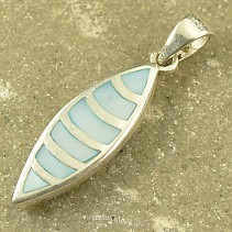 Pendant with blue pearl drop silver Ag 925/1000