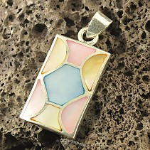 Silver pendant with pearl colored rectangle Ag 925/1000