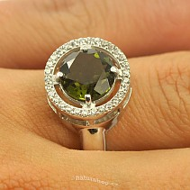 Moldavite and 9 mm round cubic zirconia ring Ag + Rh 925/1000