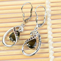 Silver earrings Moldavite drop a garnet cut Ag 925/1000