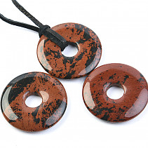 Mahogany obsidian pendant donut on the leather 30 mm