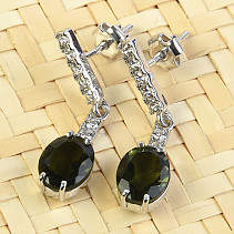Silver earrings with cubic zirconia Moldavite oval cut 9x7mm Ag 925/1000