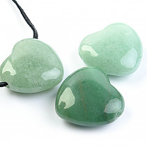 Aventurine pendant hearts on the leather 30 mm