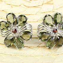 Earrings with moldavites and garnets flower Ag 925/1000 + Rh