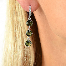 Moldavite earrings with cubic zirconia Ag 925/1000 + Rh
